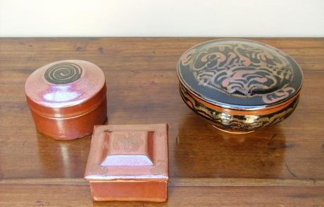 Esias Bosch, 3 Stoneware Boxes