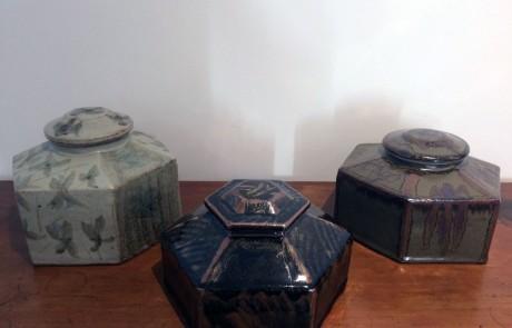 Esias Bosch, 3 Stoneware Hexagonal Lidded Jars, 1960/70s
