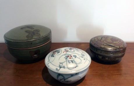 Esias Bosch, 3 Stoneware Round Lidded Bowls, 1960/70s