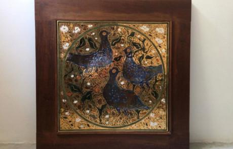 Esias Bosch, A Porcelain Gold Luster Tile, 1980 - 1987