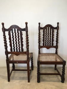 A pair of Stinkwood Bone-Inlaid Chairs, possibly designed by Sir Herbert Baker, early 20th c.